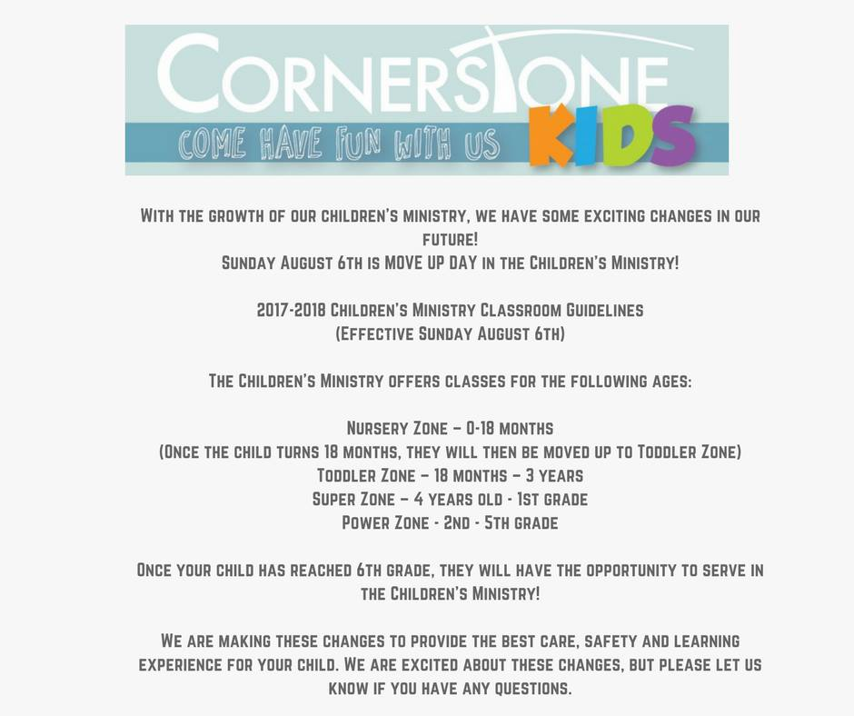 Cornerstone Kids Move Up Day Information