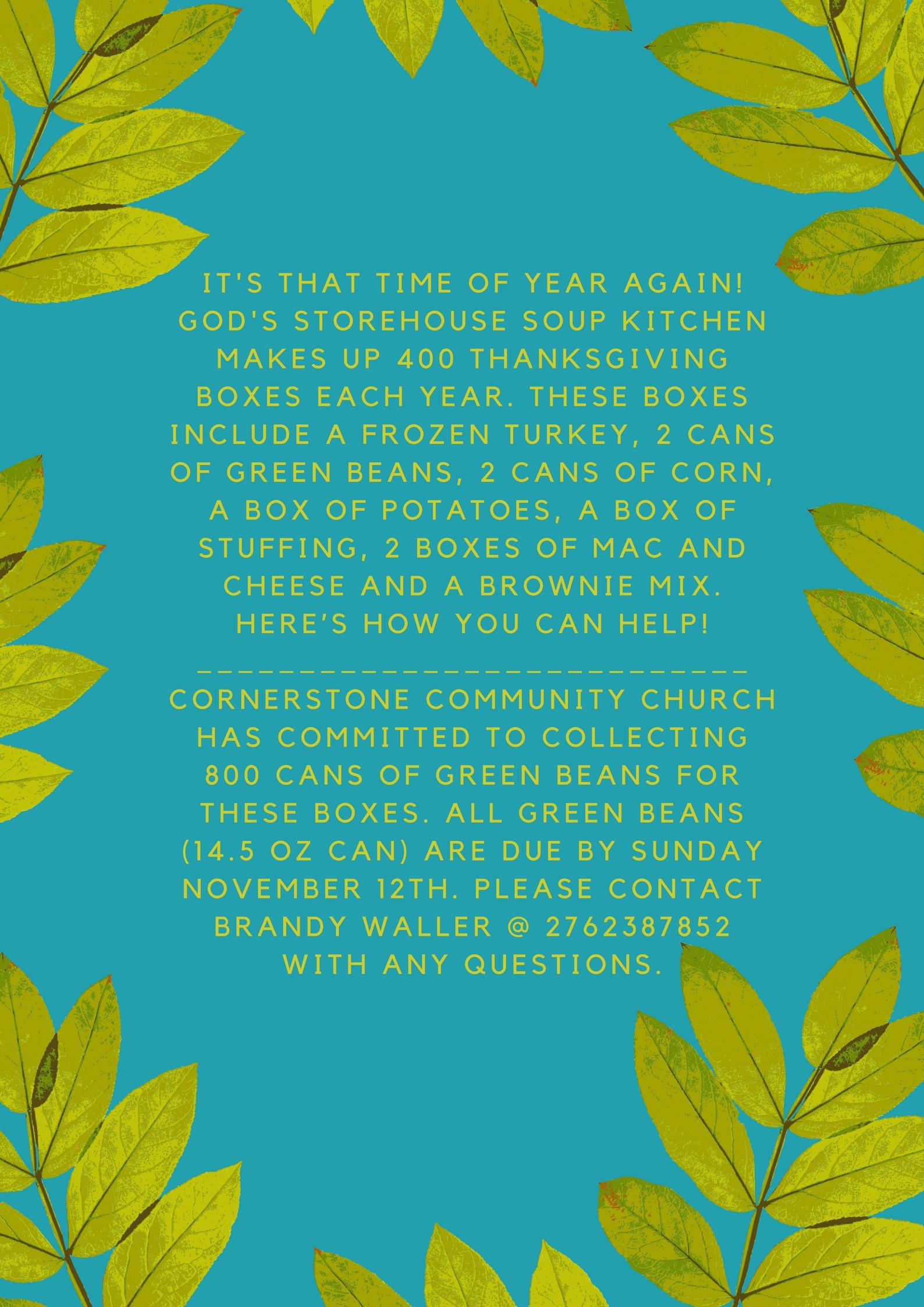 Green Beans Galore! - Cornerstone Community Church