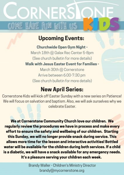 Cornerstone Kids Monthly Newsletter  Cornerstone Community Church